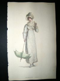 Ackermann 1815 Hand Col Regency Fashion Print. Promenade Dress 14-11